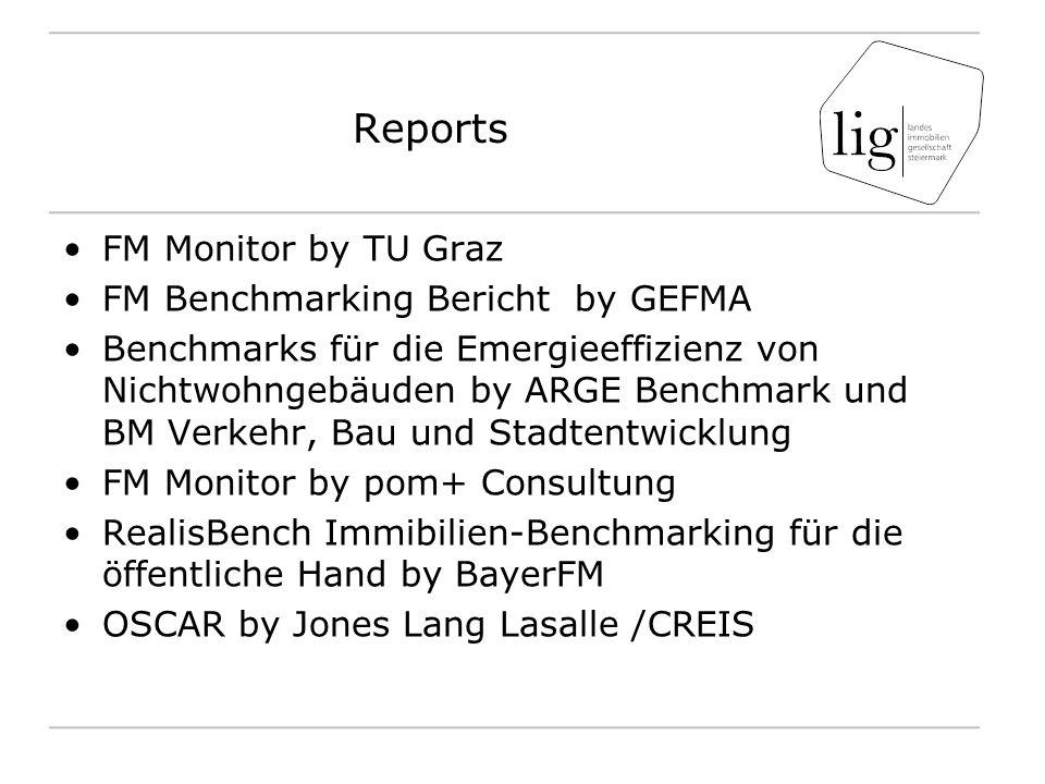 Reports FM Monitor by TU Graz FM Benchmarking Bericht by GEFMA Benchmarks für die Emergieeffizienz von Nichtwohngebäuden by ARGE Benchmark und BM Verk