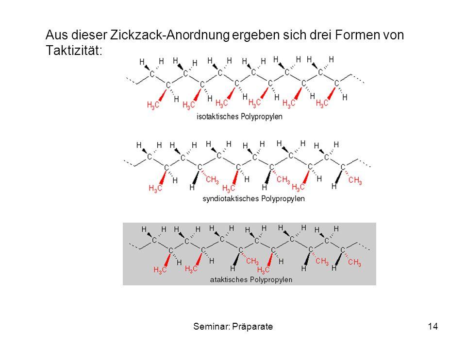 Seminar: Präparate14 Aus dieser Zickzack-Anordnung ergeben sich drei Formen von Taktizität: