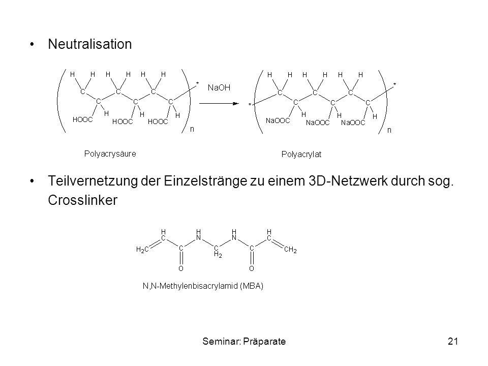 Seminar: Präparate21 Neutralisation Teilvernetzung der Einzelstränge zu einem 3D-Netzwerk durch sog. Crosslinker