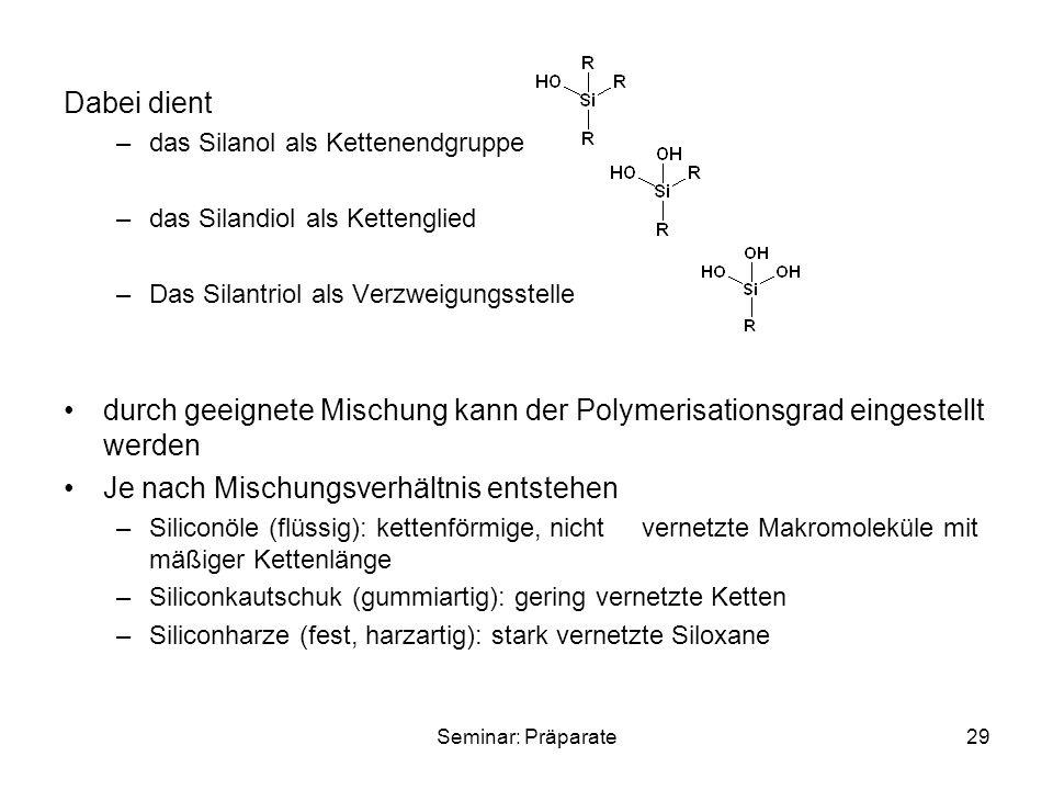 Seminar: Präparate29 Dabei dient –das Silanol als Kettenendgruppe –das Silandiol als Kettenglied –Das Silantriol als Verzweigungsstelle durch geeignet