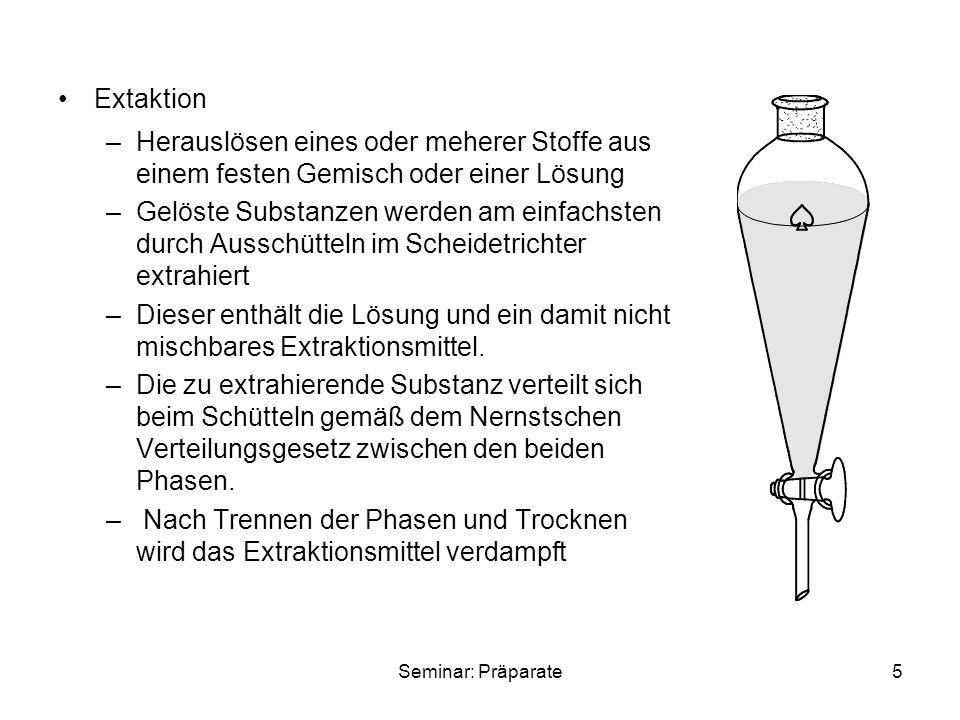 Seminar: Präparate6 1.2 Reinigung von Feststoffen: Kristallisation –die wichtigste Reinigungsmethode für Feststoffe –die verunreinigte Substanz wird in der Wärme in einem geeigneten Lösemittel gelöst und heiß filtriert –das Filtrat lässt man abkühlen, wobei die Substanz reiner auskristallisiert –Das Lösemittel ist so zu wählen, dass es keine chemische Reaktion mit der Substanz eingeht möglichst leicht zu entfernen ist sein Siedepunkt 10-20°C unter dem Schmelzpunkt der Substanz liegt
