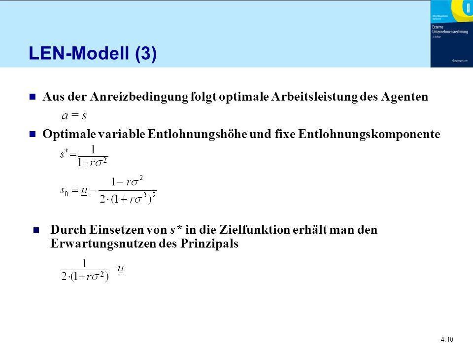 4.10 LEN-Modell (3) n Aus der Anreizbedingung folgt optimale Arbeitsleistung des Agenten a = s n Optimale variable Entlohnungshöhe und fixe Entlohnungskomponente n Durch Einsetzen von s* in die Zielfunktion erhält man den Erwartungsnutzen des Prinzipals