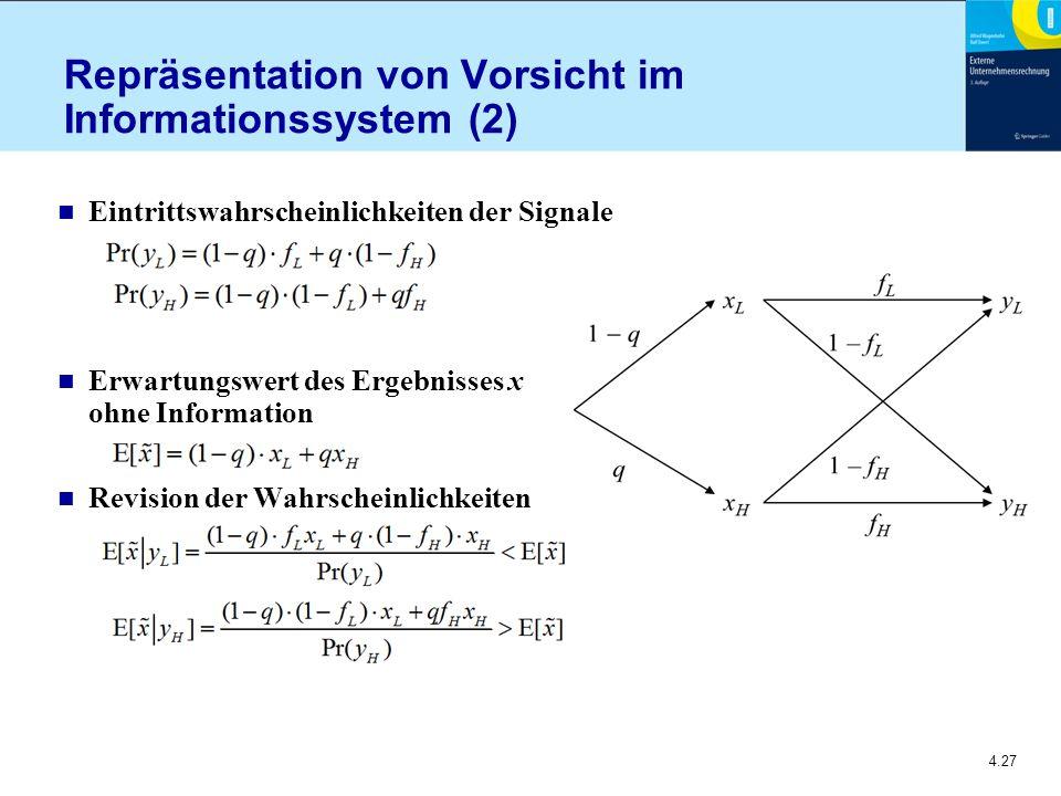 4.27 Repräsentation von Vorsicht im Informationssystem (2) n Eintrittswahrscheinlichkeiten der Signale n Erwartungswert des Ergebnisses x ohne Information n Revision der Wahrscheinlichkeiten