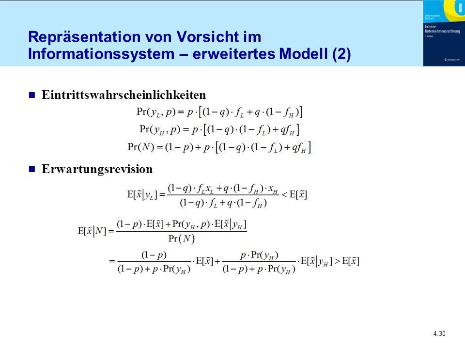 4.30 Repräsentation von Vorsicht im Informationssystem – erweitertes Modell (2) n Eintrittswahrscheinlichkeiten n Erwartungsrevision