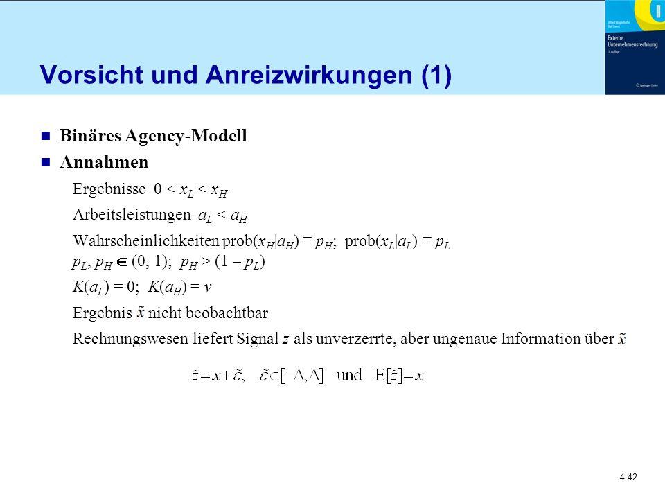 4.42 Vorsicht und Anreizwirkungen (1) n Binäres Agency-Modell n Annahmen Ergebnisse 0 < x L < x H Arbeitsleistungen a L < a H Wahrscheinlichkeiten prob(x H |a H ) ≡ p H ; prob(x L |a L ) ≡ p L p L, p H  (0, 1); p H > (1 – p L ) K(a L ) = 0; K(a H ) = v Ergebnis nicht beobachtbar Rechnungswesen liefert Signal z als unverzerrte, aber ungenaue Information über