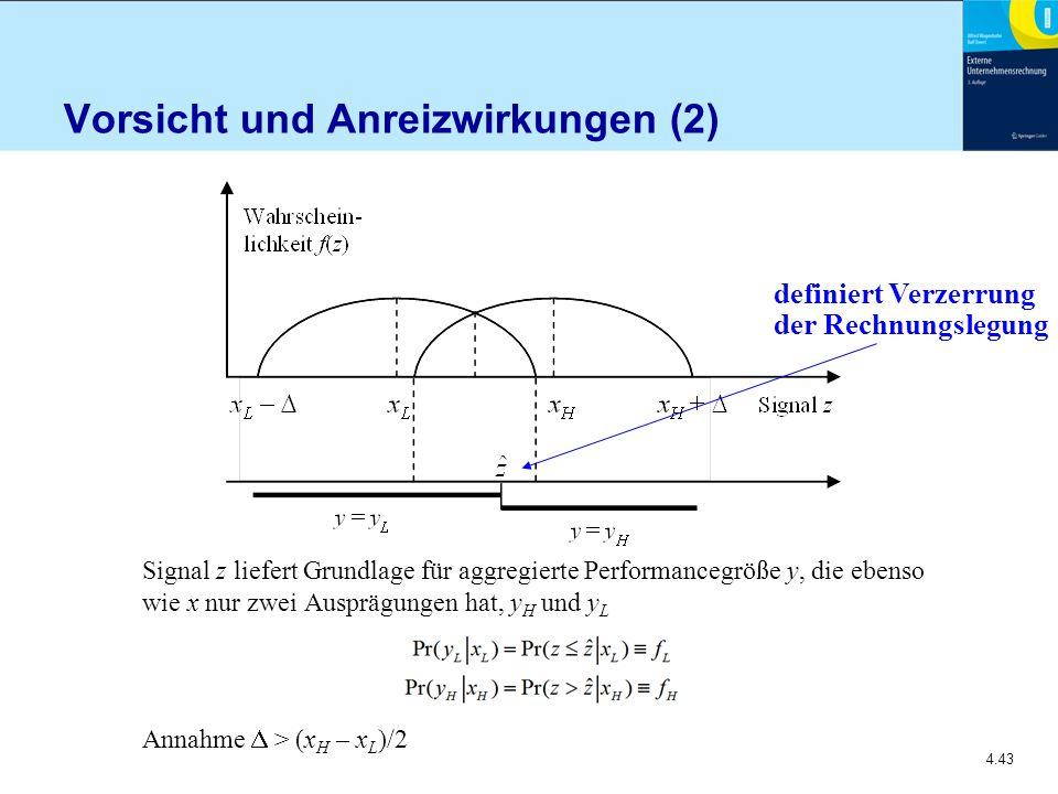 4.43 Vorsicht und Anreizwirkungen (2) Signal z liefert Grundlage für aggregierte Performancegröße y, die ebenso wie x nur zwei Ausprägungen hat, y H und y L Annahme  > (x H – x L )/2 definiert Verzerrung der Rechnungslegung