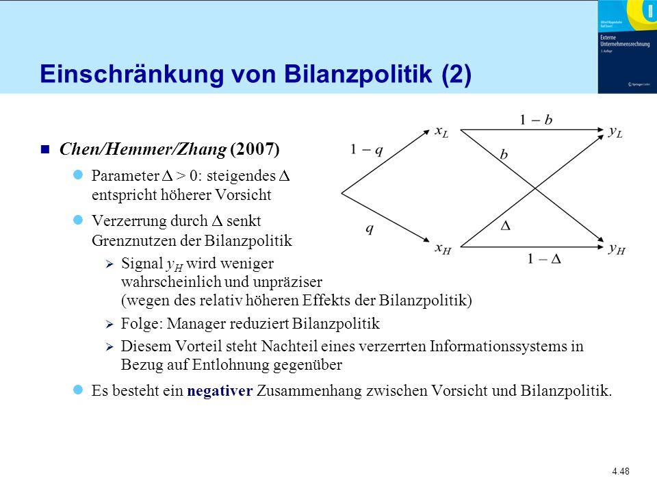 4.48 Einschränkung von Bilanzpolitik (2) n Chen/Hemmer/Zhang (2007) Parameter  > 0: steigendes  entspricht höherer Vorsicht Verzerrung durch  senkt Grenznutzen der Bilanzpolitik  Signal y H wird weniger wahrscheinlich und unpräziser (wegen des relativ höheren Effekts der Bilanzpolitik)  Folge: Manager reduziert Bilanzpolitik  Diesem Vorteil steht Nachteil eines verzerrten Informationssystems in Bezug auf Entlohnung gegenüber Es besteht ein negativer Zusammenhang zwischen Vorsicht und Bilanzpolitik.