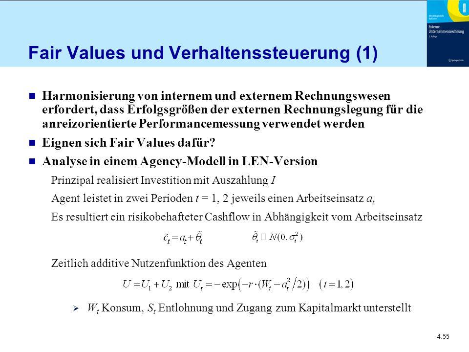 4.55 Fair Values und Verhaltenssteuerung (1) n Harmonisierung von internem und externem Rechnungswesen erfordert, dass Erfolgsgrößen der externen Rechnungslegung für die anreizorientierte Performancemessung verwendet werden n Eignen sich Fair Values dafür.