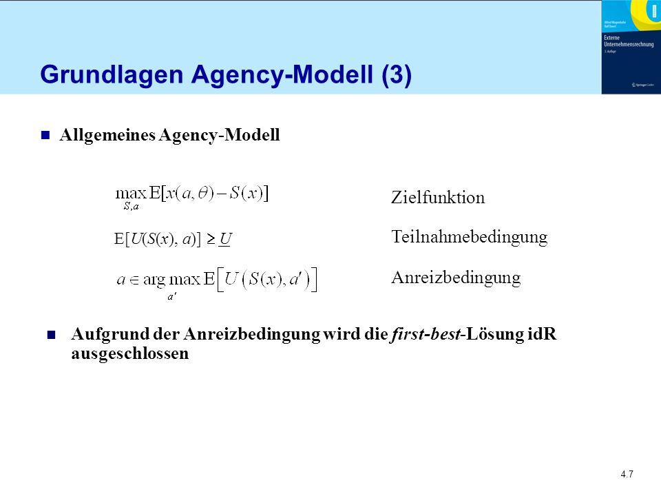 4.7 Grundlagen Agency-Modell (3) n Allgemeines Agency-Modell E[U(S(x), a)]  U n Aufgrund der Anreizbedingung wird die first-best-Lösung idR ausgeschlossen Zielfunktion Teilnahmebedingung Anreizbedingung