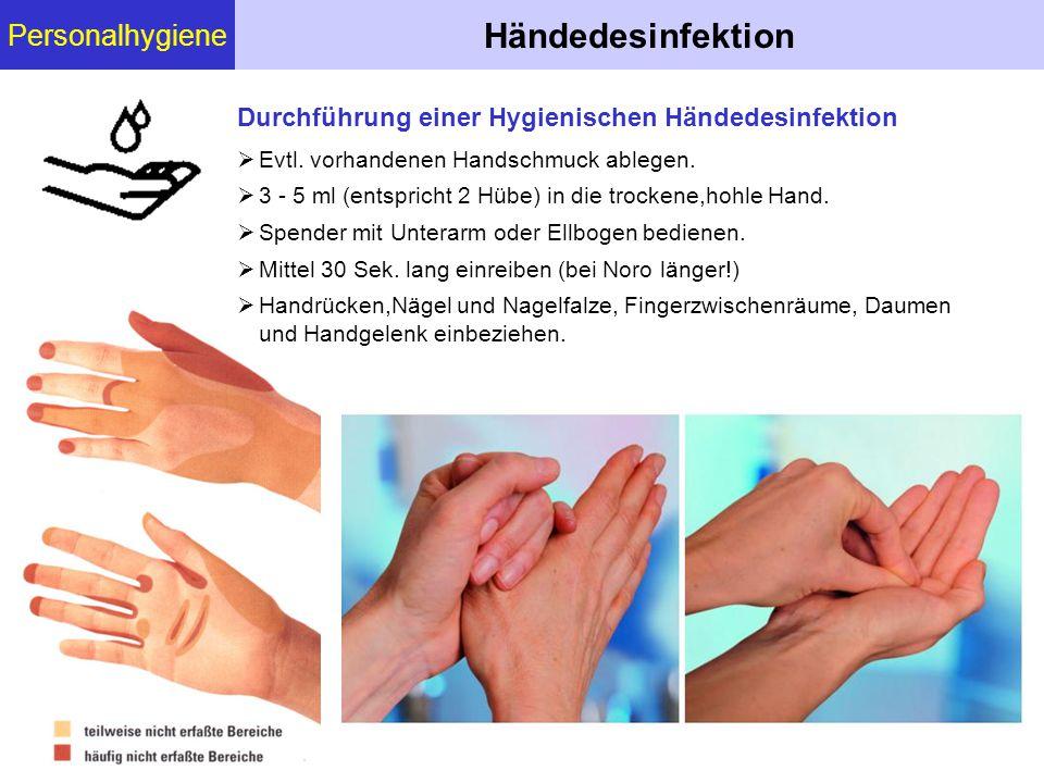 Personalhygiene Händedesinfektion  Evtl. vorhandenen Handschmuck ablegen.  3 - 5 ml (entspricht 2 Hübe) in die trockene,hohle Hand.  Spender mit Un