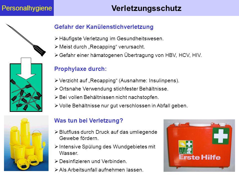 """Personalhygiene Verletzungsschutz Gefahr der Kanülenstichverletzung  Häufigste Verletzung im Gesundheitswesen.  Meist durch """"Recapping"""" verursacht."""