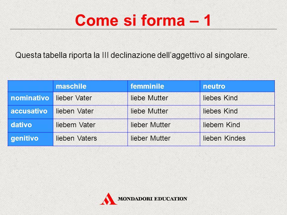 Come si forma – 1 Questa tabella riporta la III declinazione dell'aggettivo al singolare.