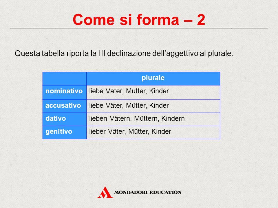 Come si forma – 2 Questa tabella riporta la III declinazione dell'aggettivo al plurale.