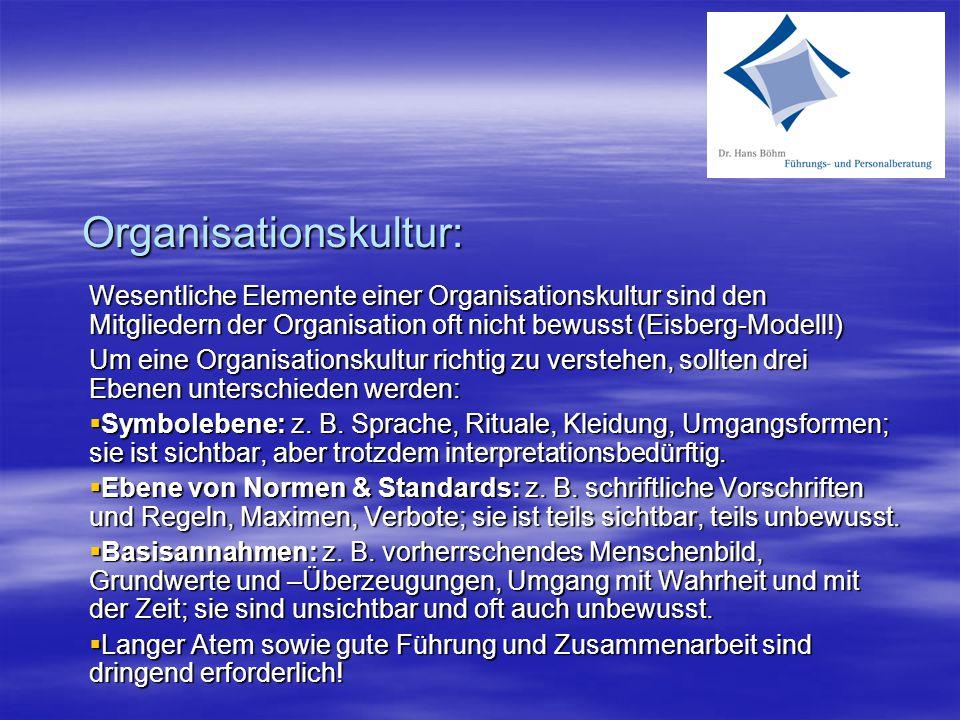 Organisationskultur: Wesentliche Elemente einer Organisationskultur sind den Mitgliedern der Organisation oft nicht bewusst (Eisberg-Modell!) Um eine Organisationskultur richtig zu verstehen, sollten drei Ebenen unterschieden werden:  Symbolebene: z.