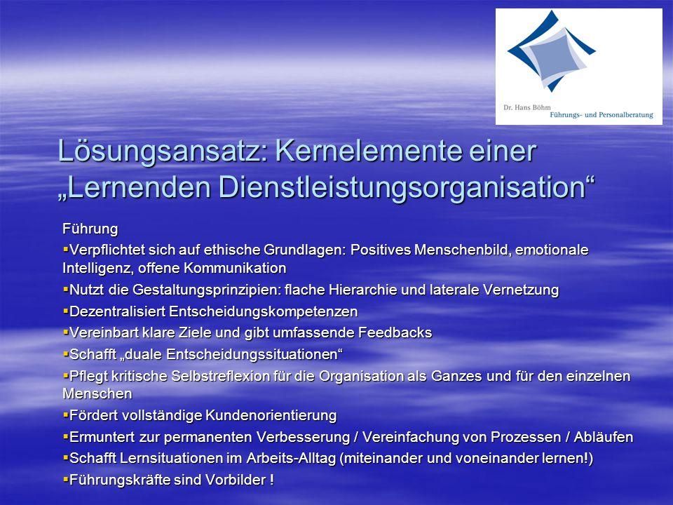 """Lösungsansatz: Kernelemente einer """"Lernenden Dienstleistungsorganisation Führung  Verpflichtet sich auf ethische Grundlagen: Positives Menschenbild, emotionale Intelligenz, offene Kommunikation  Nutzt die Gestaltungsprinzipien: flache Hierarchie und laterale Vernetzung  Dezentralisiert Entscheidungskompetenzen  Vereinbart klare Ziele und gibt umfassende Feedbacks  Schafft """"duale Entscheidungssituationen  Pflegt kritische Selbstreflexion für die Organisation als Ganzes und für den einzelnen Menschen  Fördert vollständige Kundenorientierung  Ermuntert zur permanenten Verbesserung / Vereinfachung von Prozessen / Abläufen  Schafft Lernsituationen im Arbeits-Alltag (miteinander und voneinander lernen!)  Führungskräfte sind Vorbilder !"""