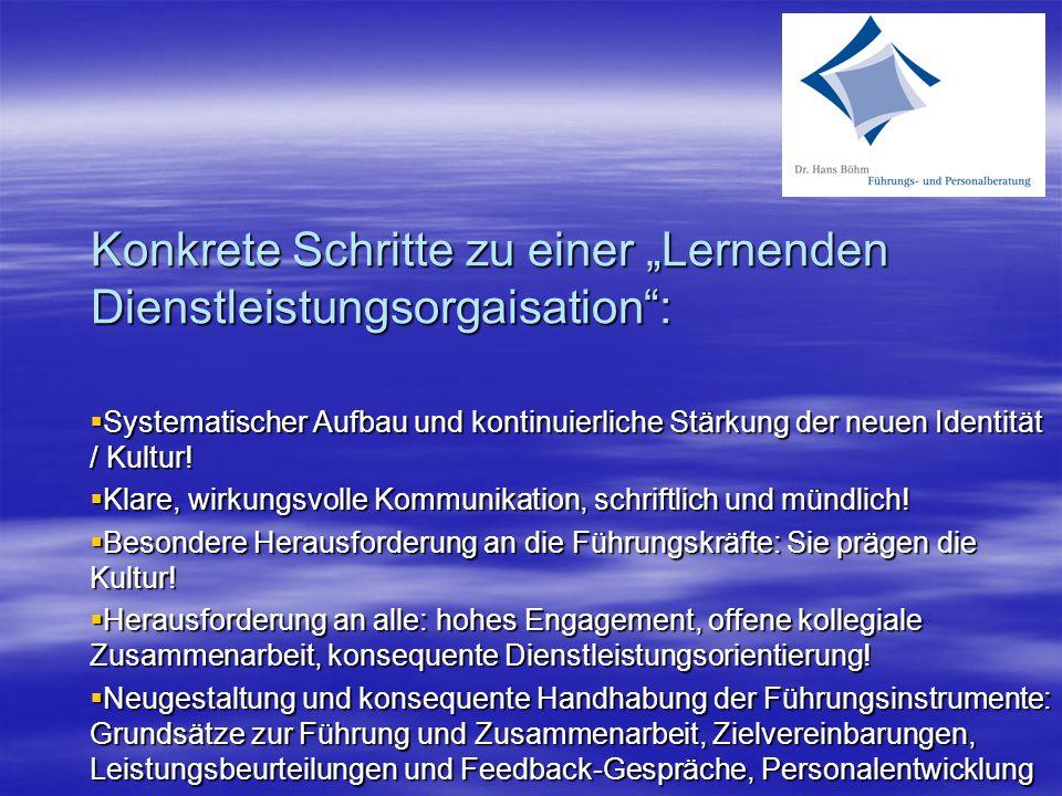"""Konkrete Schritte zu einer """"Lernenden Dienstleistungsorgaisation"""":  Systematischer Aufbau und kontinuierliche Stärkung der neuen Identität / Kultur!"""