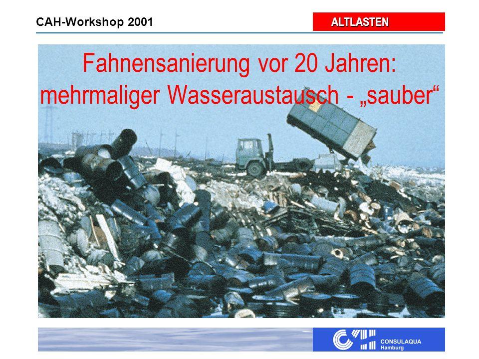 """ALTLASTEN ALTLASTEN CAH-Workshop 2001 Fahnensanierung vor 20 Jahren: mehrmaliger Wasseraustausch - """"sauber"""