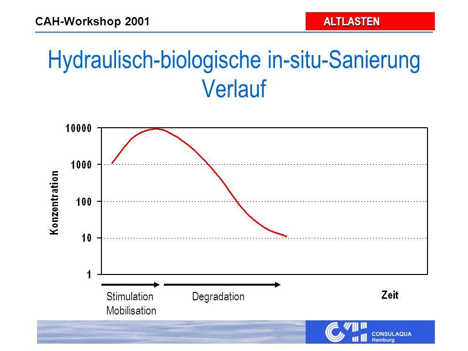 ALTLASTEN ALTLASTEN CAH-Workshop 2001 Hydraulisch-biologische in-situ-Sanierung Verlauf Stimulation Mobilisation Degradation
