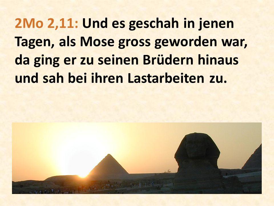 2Mo 2,11: Und es geschah in jenen Tagen, als Mose gross geworden war, da ging er zu seinen Brüdern hinaus und sah bei ihren Lastarbeiten zu.