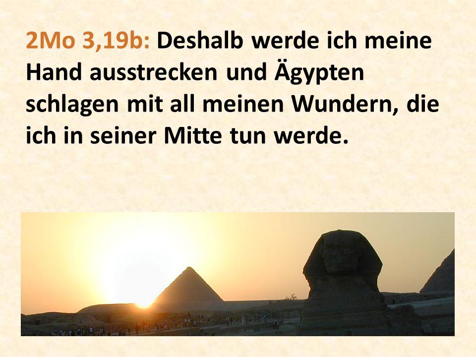 2Mo 3,19b: Deshalb werde ich meine Hand ausstrecken und Ägypten schlagen mit all meinen Wundern, die ich in seiner Mitte tun werde.