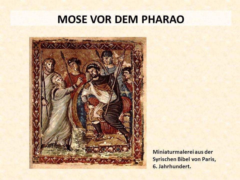 MOSE VOR DEM PHARAO Miniaturmalerei aus der Syrischen Bibel von Paris, 6. Jahrhundert.