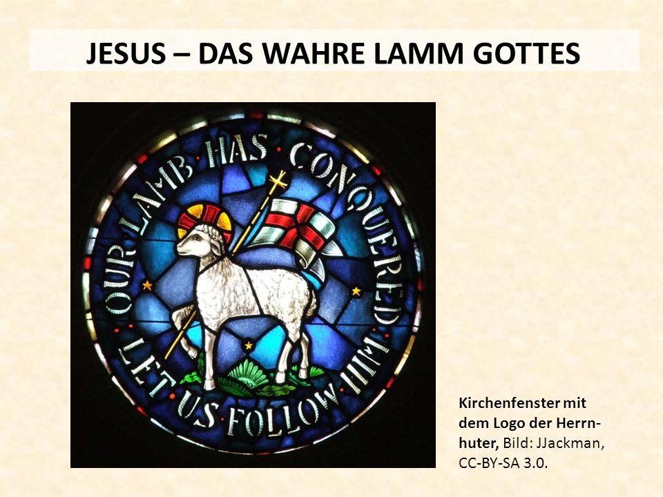 JESUS – DAS WAHRE LAMM GOTTES Kirchenfenster mit dem Logo der Herrn- huter, Bild: JJackman, CC-BY-SA 3.0.