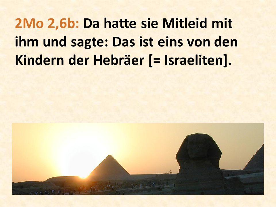 2Mo 2,6b: Da hatte sie Mitleid mit ihm und sagte: Das ist eins von den Kindern der Hebräer [= Israeliten].