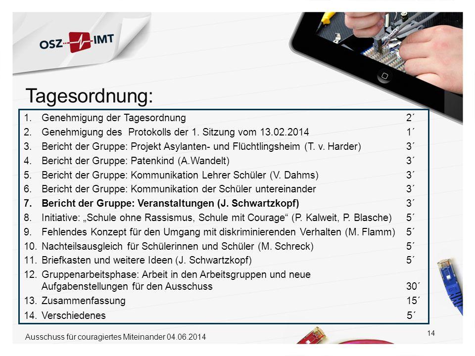 14 1.Genehmigung der Tagesordnung 2´ 2.Genehmigung des Protokolls der 1. Sitzung vom 13.02.2014 1´ 3.Bericht der Gruppe: Projekt Asylanten- und Flücht