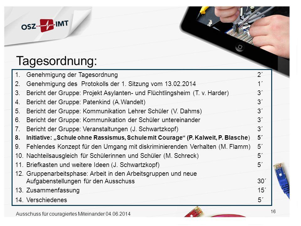 16 1.Genehmigung der Tagesordnung 2´ 2.Genehmigung des Protokolls der 1. Sitzung vom 13.02.2014 1´ 3.Bericht der Gruppe: Projekt Asylanten- und Flücht