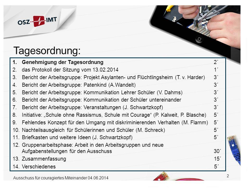 2 1.Genehmigung der Tagesordnung 2´ 2.das Protokoll der Sitzung vom 13.02.2014 1´ 3.Bericht der Arbeitsgruppe: Projekt Asylanten- und Flüchtlingsheim