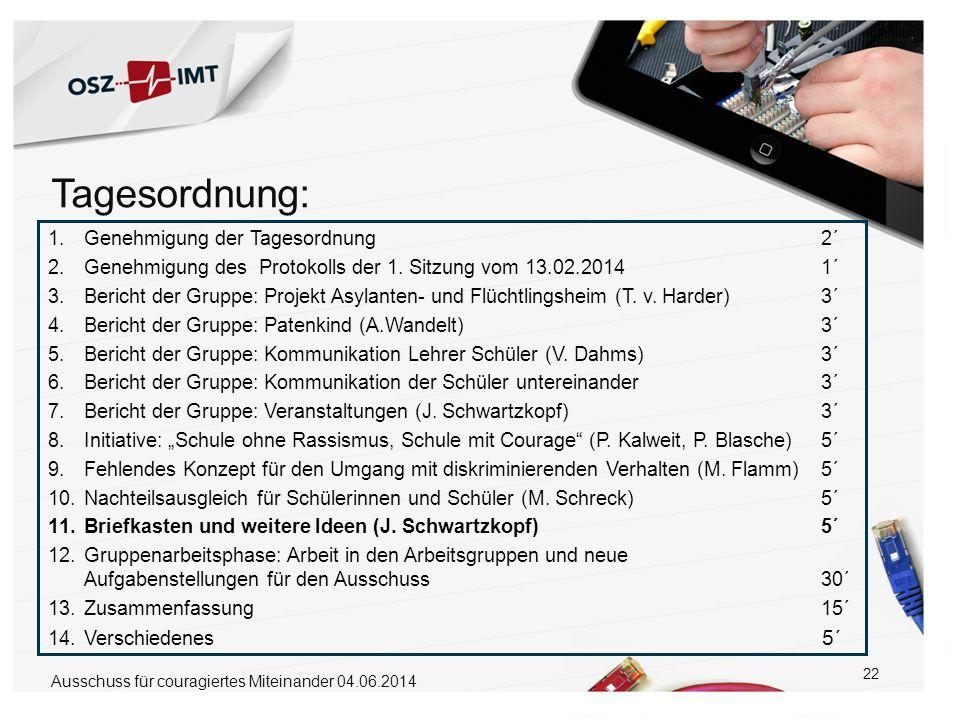 22 1.Genehmigung der Tagesordnung 2´ 2.Genehmigung des Protokolls der 1. Sitzung vom 13.02.2014 1´ 3.Bericht der Gruppe: Projekt Asylanten- und Flücht