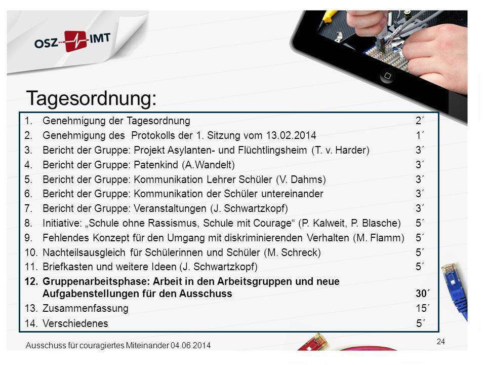 24 1.Genehmigung der Tagesordnung 2´ 2.Genehmigung des Protokolls der 1. Sitzung vom 13.02.2014 1´ 3.Bericht der Gruppe: Projekt Asylanten- und Flücht