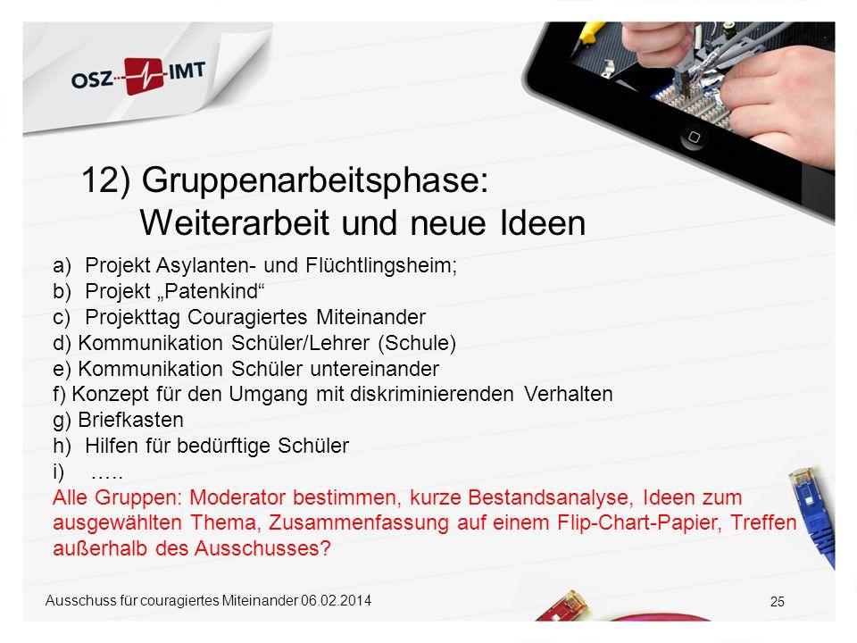 """12) Gruppenarbeitsphase: Weiterarbeit und neue Ideen 25 a)Projekt Asylanten- und Flüchtlingsheim; b)Projekt """"Patenkind"""" c)Projekttag Couragiertes Mite"""