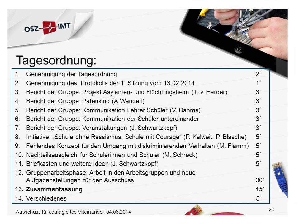 26 1.Genehmigung der Tagesordnung 2´ 2.Genehmigung des Protokolls der 1. Sitzung vom 13.02.2014 1´ 3.Bericht der Gruppe: Projekt Asylanten- und Flücht