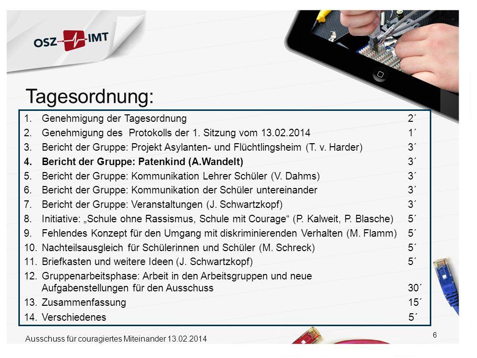 6 1.Genehmigung der Tagesordnung 2´ 2.Genehmigung des Protokolls der 1. Sitzung vom 13.02.2014 1´ 3.Bericht der Gruppe: Projekt Asylanten- und Flüchtl
