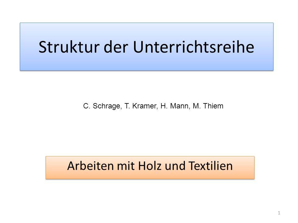 Struktur der Unterrichtsreihe Arbeiten mit Holz und Textilien 1 C. Schrage, T. Kramer, H. Mann, M. Thiem