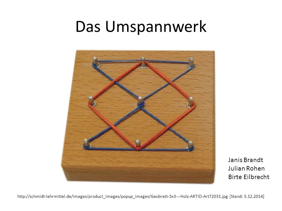 Das Umspannwerk http://schmidt-lehrmittel.de/images/product_images/popup_images/Geobrett-3x3---Holz-ARTID-Art72031.jpg [Stand: 5.12.2014] Janis Brandt