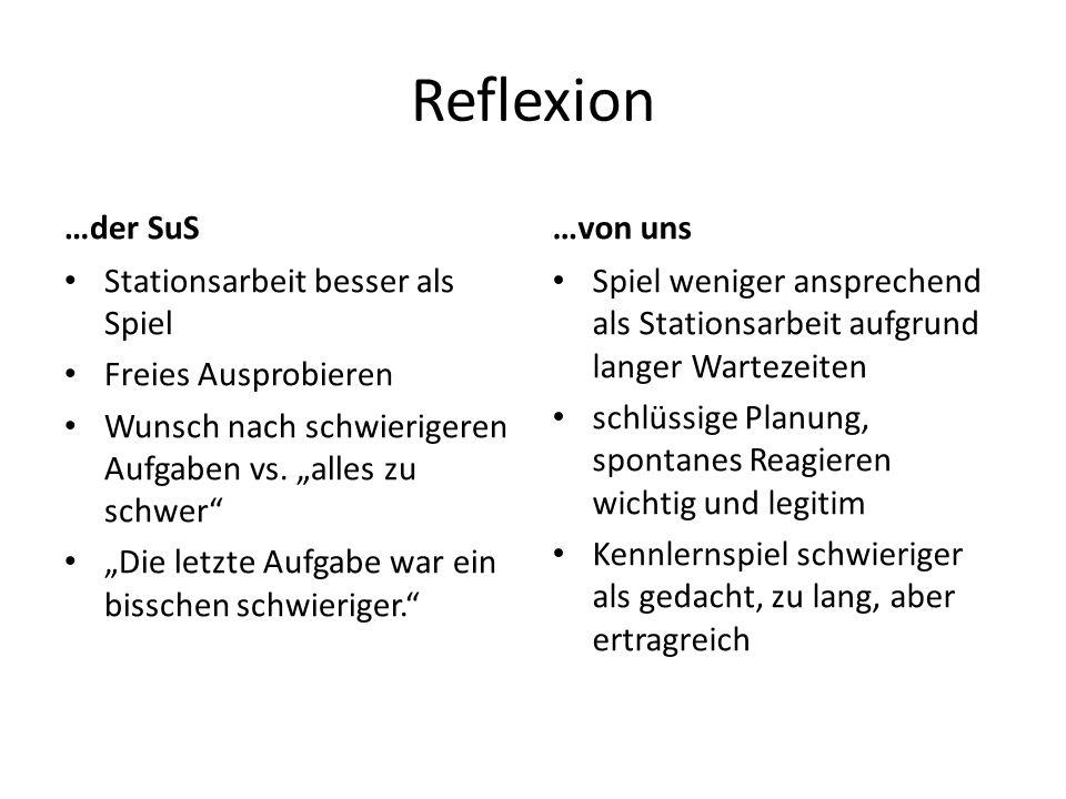 """Reflexion …der SuS Stationsarbeit besser als Spiel Freies Ausprobieren Wunsch nach schwierigeren Aufgaben vs. """"alles zu schwer"""" """"Die letzte Aufgabe wa"""