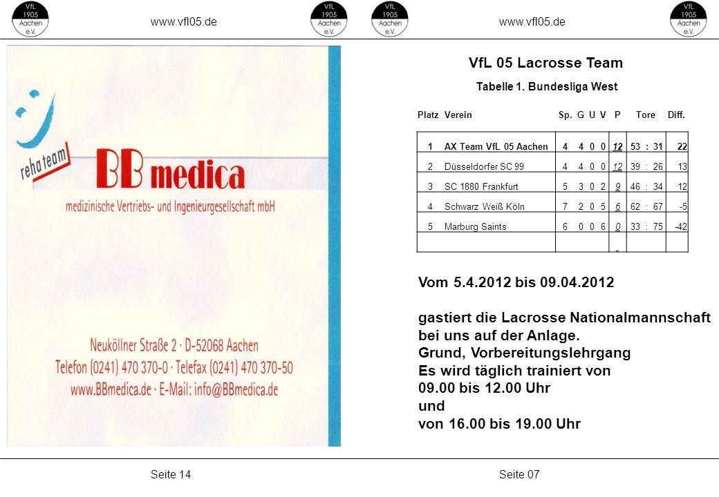 www.vfl05.de Seite 07Seite 14 VfL 05 Lacrosse Team PlatzVereinSp.GUVPToreDiff.