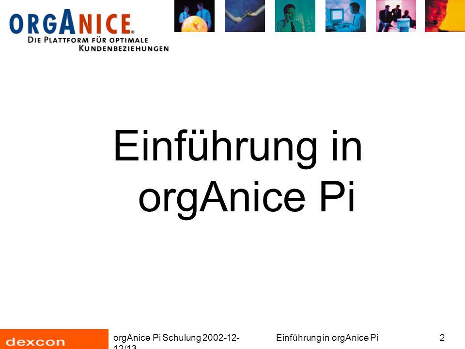 orgAnice Pi Schulung 2002-12- 12/13 Einführung in orgAnice Pi3 Überblick Installation orgAnice Phone Konfiguration Aufteilung in Komponenten Datenimport Objekt-Editor: orgAnice Data- und orgAnice Server-Objekte