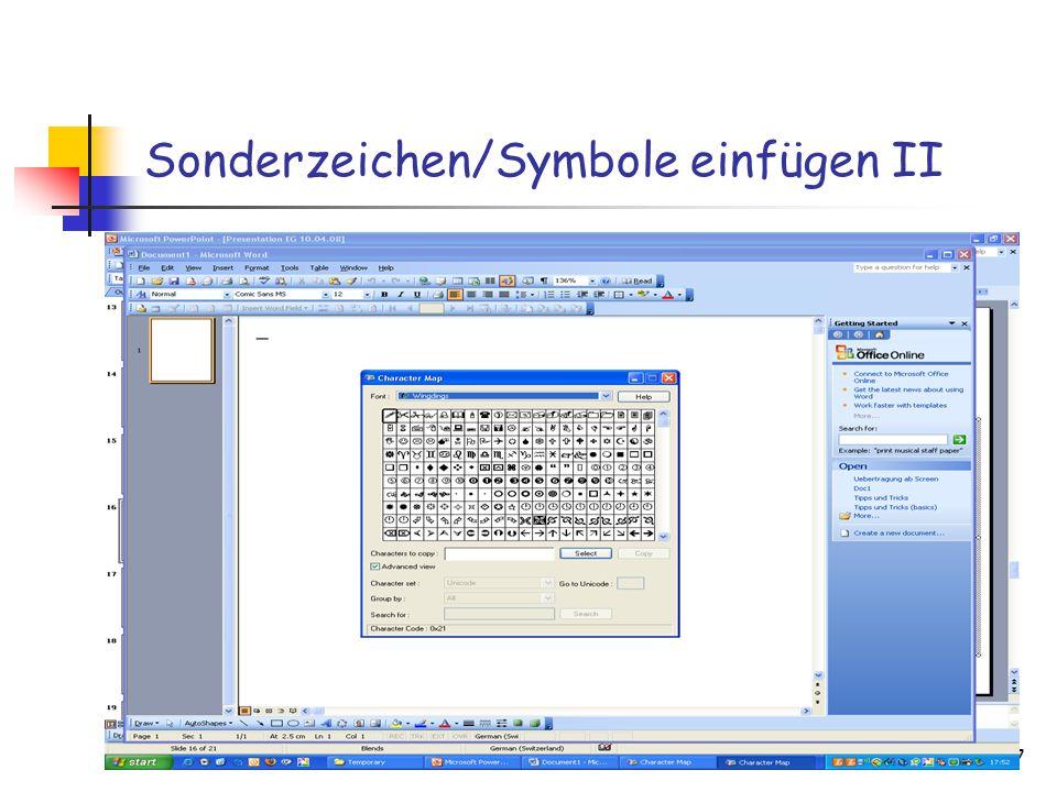 03.04.201517 Sonderzeichen/Symbole einfügen II