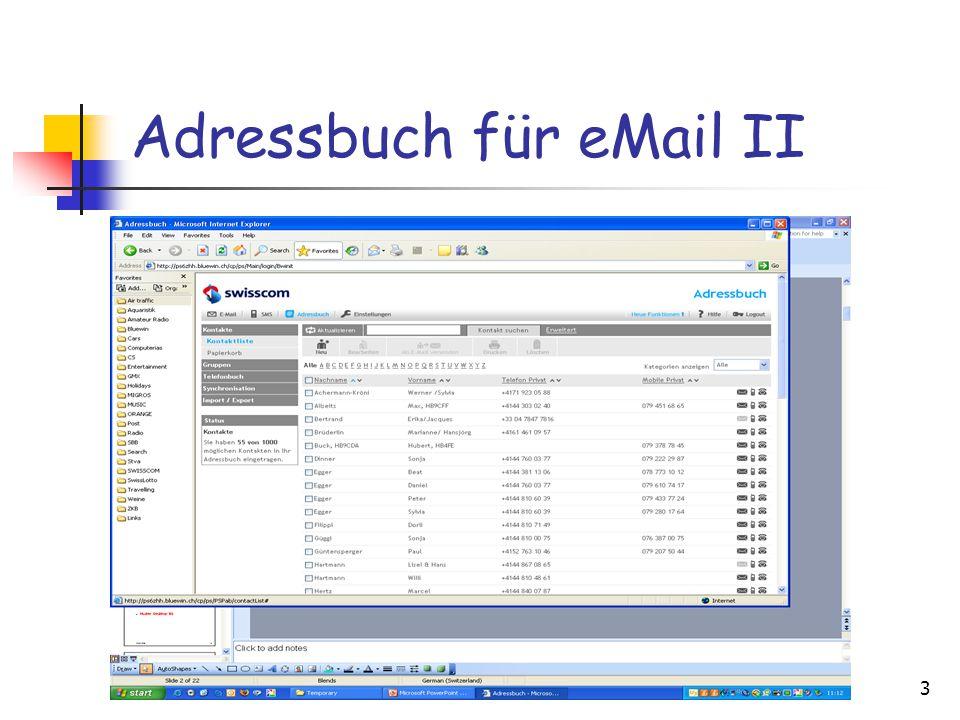 3 Adressbuch für eMail II