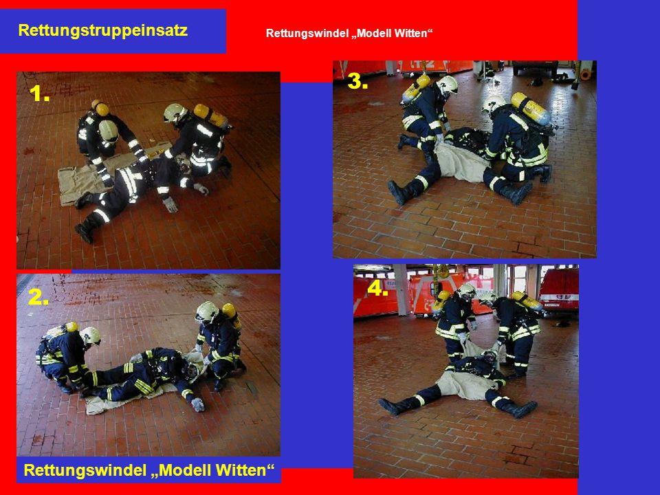 """Rettungstruppeinsatz Rettungswindel """"Modell Witten"""" 1. 2. Rettungswindel """"Modell Witten"""" 4. 3."""