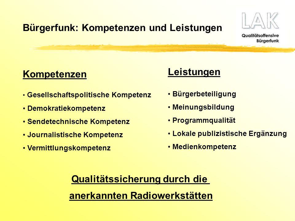 Bürgerfunk: Kompetenzen und Leistungen Kompetenzen Gesellschaftspolitische Kompetenz Demokratiekompetenz Sendetechnische Kompetenz Journalistische Kom