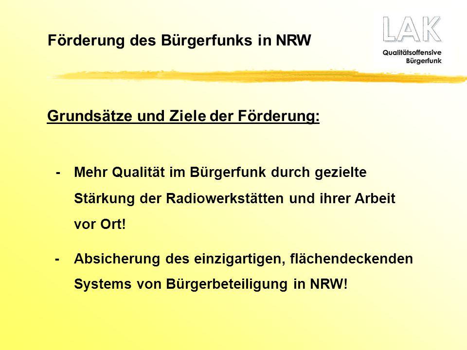 Förderung des Bürgerfunks in NRW Grundsätze und Ziele der Förderung: -Mehr Qualität im Bürgerfunk durch gezielte Stärkung der Radiowerkstätten und ihr