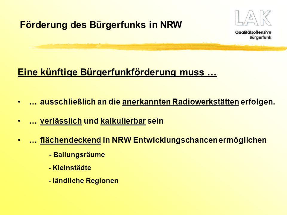 Förderung des Bürgerfunks in NRW Eine künftige Bürgerfunkförderung muss … …ausschließlich an die anerkannten Radiowerkstätten erfolgen. …verlässlich u