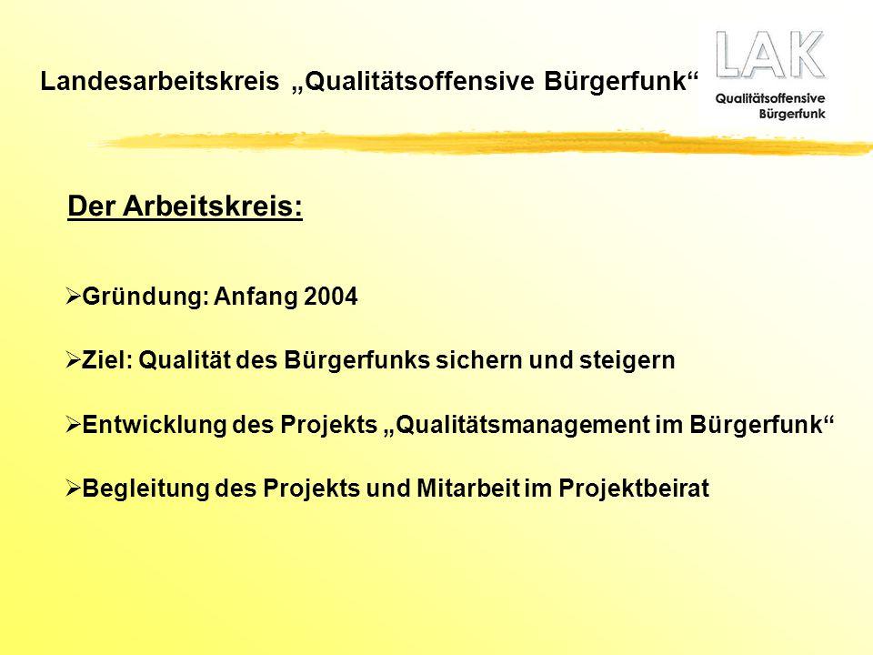 """ Gründung: Anfang 2004  Ziel: Qualität des Bürgerfunks sichern und steigern  Entwicklung des Projekts """"Qualitätsmanagement im Bürgerfunk""""  Begleit"""