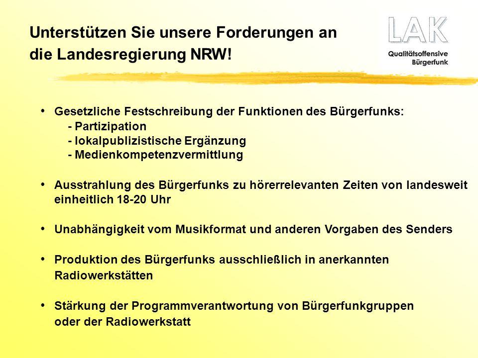Gesetzliche Festschreibung der Funktionen des Bürgerfunks: - Partizipation - lokalpublizistische Ergänzung - Medienkompetenzvermittlung Ausstrahlung d