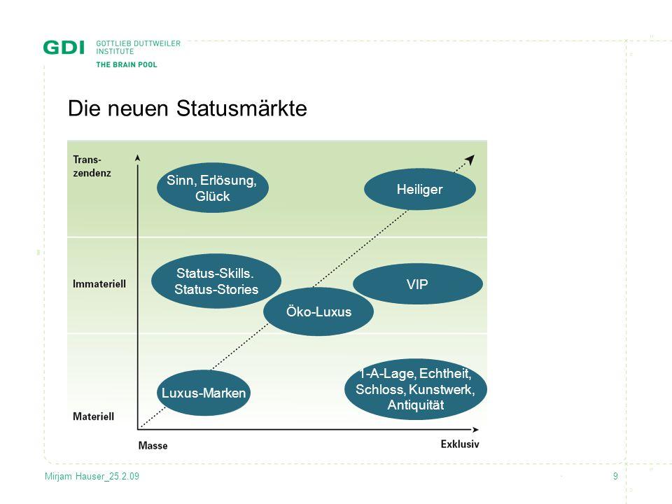 9Mirjam Hauser_25.2.09 Die neuen Statusmärkte Sinn, Erlösung, Glück VIP 1-A-Lage, Echtheit, Schloss, Kunstwerk, Antiquität Status-Skills. Status-Stori