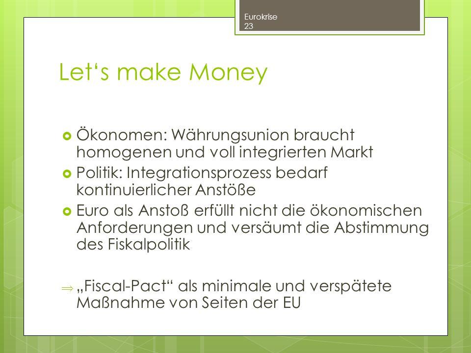  Ökonomen: Währungsunion braucht homogenen und voll integrierten Markt  Politik: Integrationsprozess bedarf kontinuierlicher Anstöße  Euro als Anst